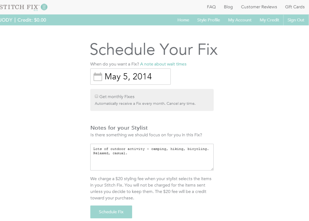 Stitch Fix - Schedule Fix