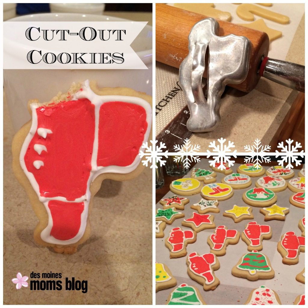 The Santa cookies are made with a cookie cutter from my Grandma June. As kids, we always bit the head off the Santa first, a tradition which has carried over to my kids.