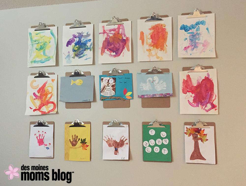 Fun Ways to Display Kids' Artwork: Clipboard Wall   Des Moines Moms Blog