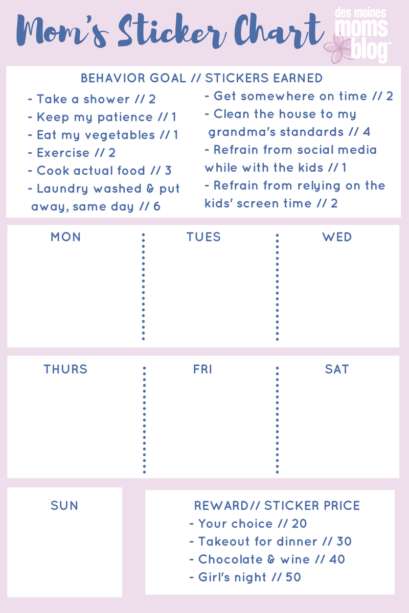 mom's sticker chart | Des Moines Moms Blog