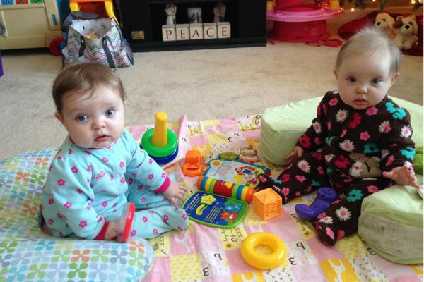 twins sitting up