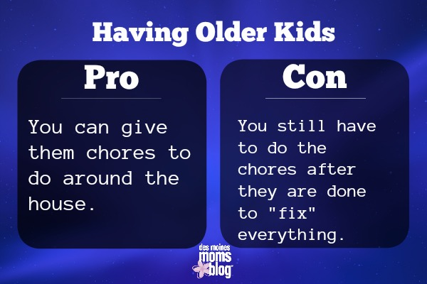 older kids pros and cons Chores