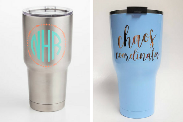 William and Noelle custom travel mugs Shop local in Des Moines