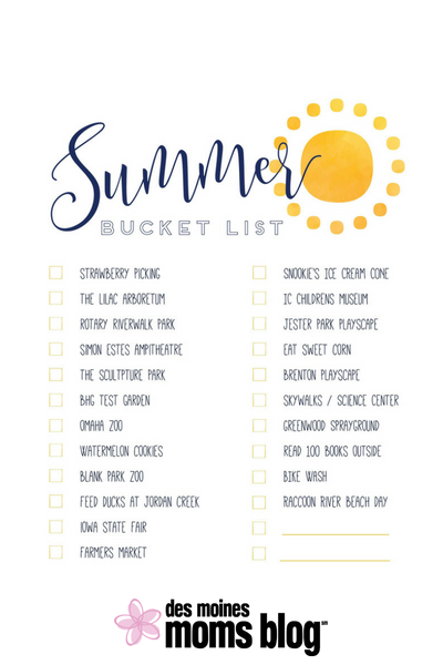 picture about Summer Bucket List Printable named Des Moines Summer season Bucket Checklist + Totally free Printable for Summer time