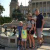 family in front of the Iowa State Capitol