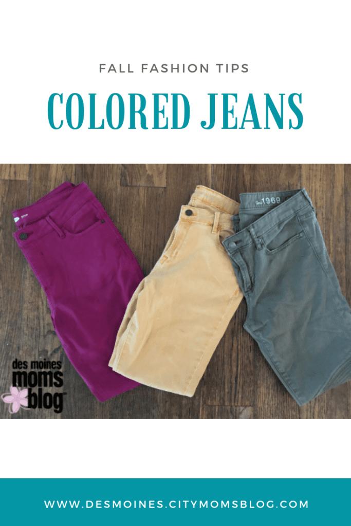 fall fashion colored jeans