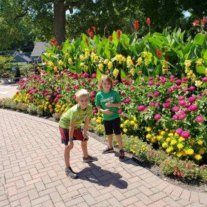 Boys in a garden