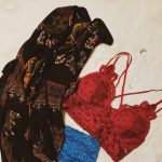 outfit example - colorful kimono, red bra, blue underwear