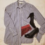 Outfit example- blue striped button down with mauve underwear and black heels